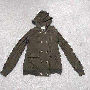 Sanctuary military hooded green small jacket flaw